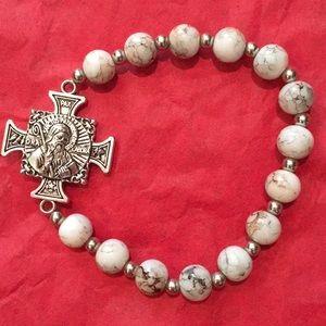 Jewelry - White St. Benedict Maltese Cross Bracelet